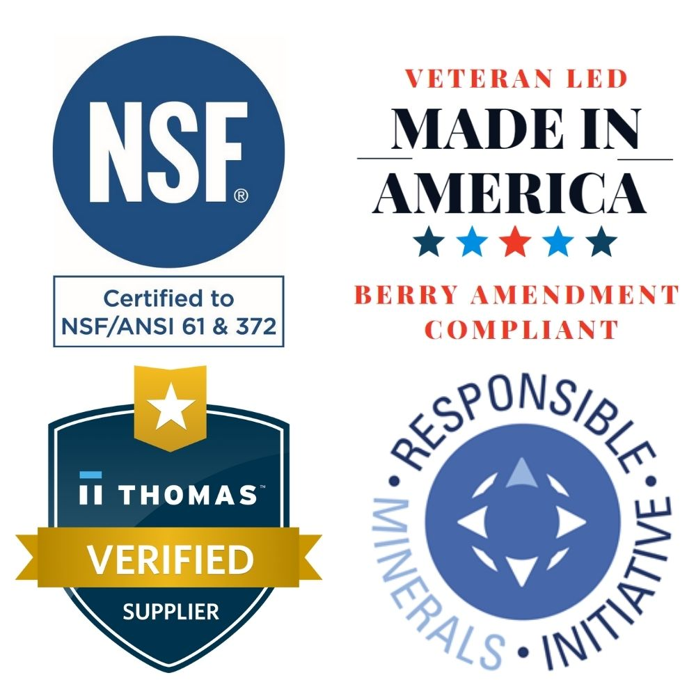 NSF, Berry Amendment, Thomas Verified, Conflict Minerals certifications. Veteran led small business